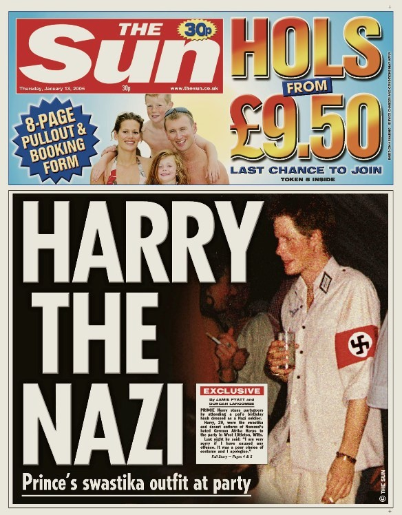 Electronic copy of front page of The Sun newspaper shows Britain's Prince Harry wearing swastika armband.