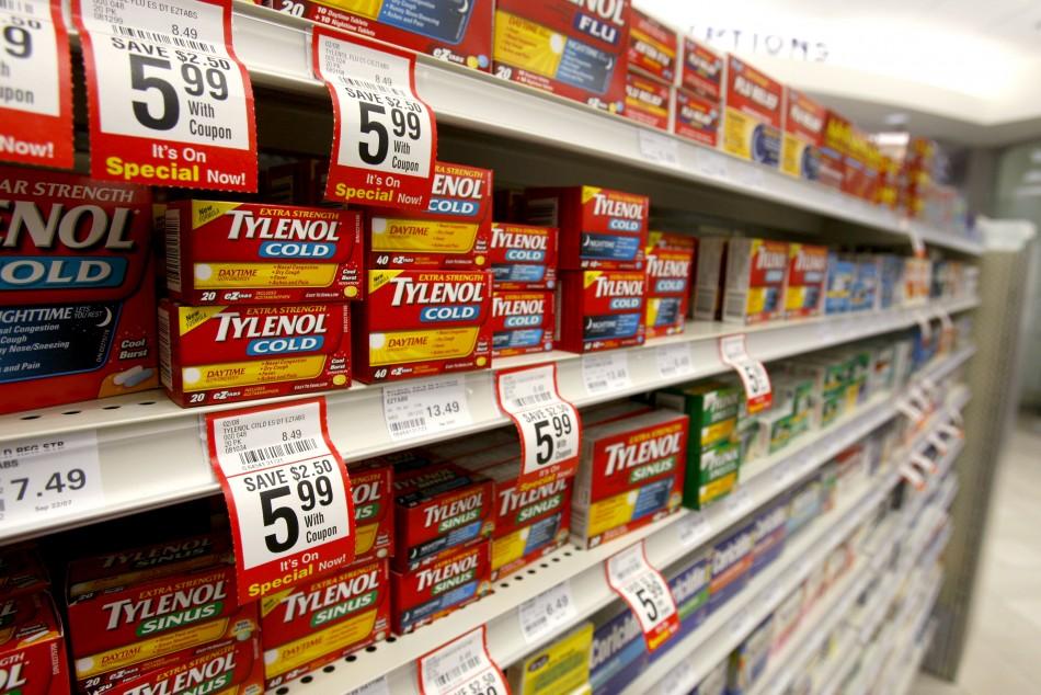 Tylenol packages on shelf