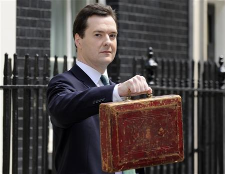 Chancellor George Osborne, holds Gladstone's old Budget box for the cameras outside 11 Downing Street