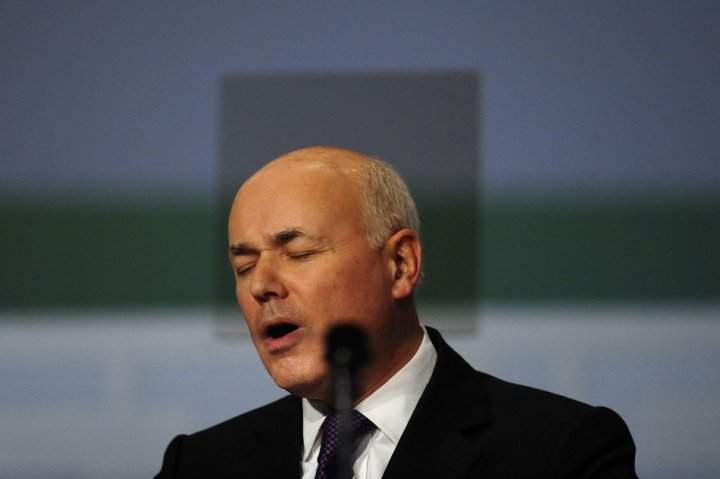 Britain's Welfare Minister Iain Duncan Smith speaks at the Conservative Party conference in Birmingham
