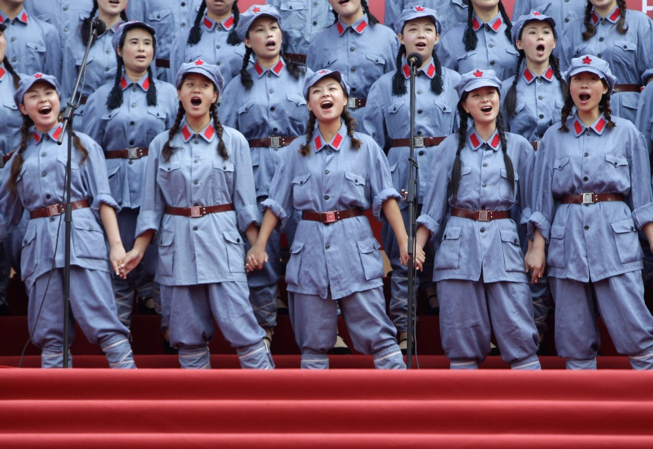 Performers dressed in Red Army uniforms sing in Chongqing municipality
