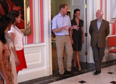 Britains Prince William and his wife Catherine, Duchess of Cambridge, take part in a youth reception at Rideau Hall in Ottawa