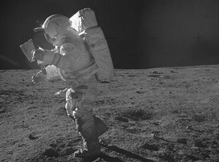 Astronaut Edgar Mitchell on the surface of the moon during the 1971 Apollo 14 mission.