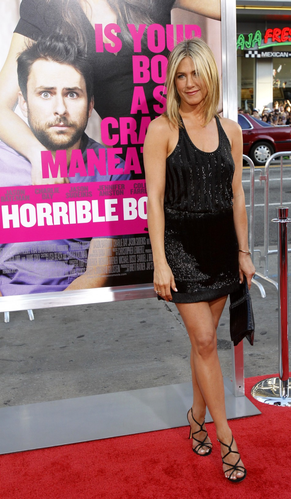 Aniston poses at the premiere of quotHorrible Bossesquot at the Graumans Chinese theatre in Hollywood