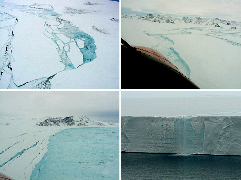 Aerial photographs taken in February and March 2002 of parts of the Larsen B shelf in the Antarctic show different aspects of the final stages of the collapse