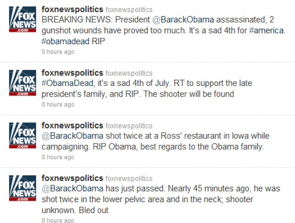 News Twitter: Secret Service Investigate Fox News Fake Obama