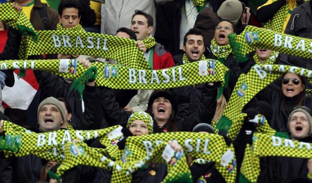 Brazil fans await their team's match with Venezuela.