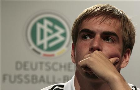Germany's Lahm listens during a news conference at the Velmore hotel in Pretoria