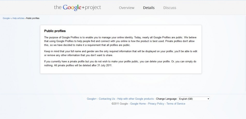 Google+ service statement