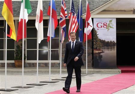 Britain's PM Cameron arrives at the G8 Summit at the Deerhurst Resort in Huntsville, Ontario