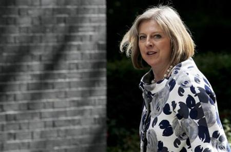 Home Secretray Theresa May arrives at 10 Downing Street for a cabinet meeting, in central London