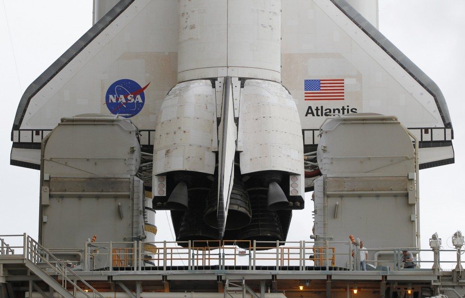The aft section of space shuttle Atlantis STS-135 is shown after the protective Rotating Service Structure was rolled back on launch pad 39A at the Kennedy Space Center in Cape Canaveral