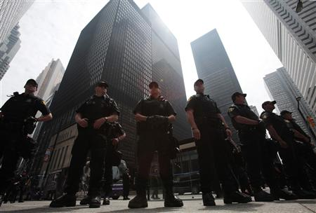 Police officers stand on guard during the G20 summit in Toronto