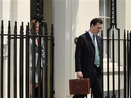 Chancellor George Osborne holds Gladstone's old Budget box outside 11 Downing Street