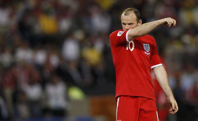 England's Wayne Rooney reacts during the 2010 World Cup second round soccer match against Germany