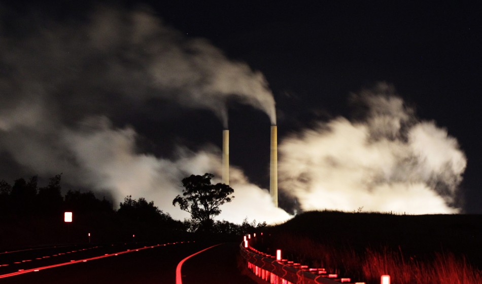 Steam and other emissions rise from a coal-fired power station near Lithgow