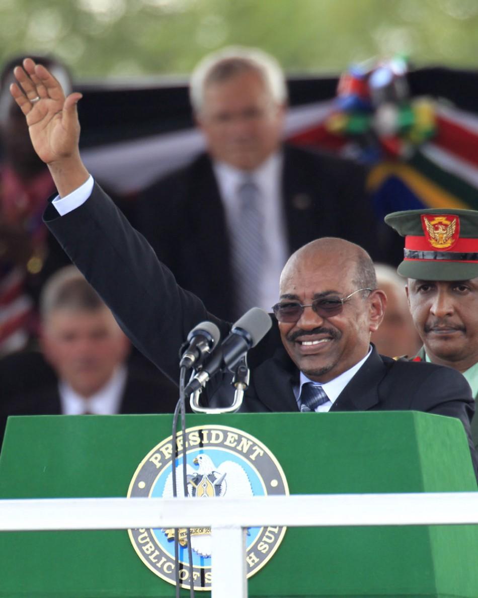 Sudan's President Omar Hassan al-Bashir addresses the Independence Day celebrations