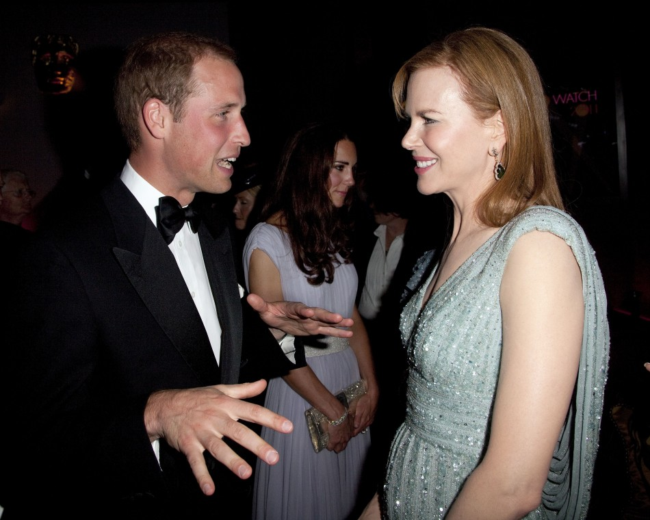 Britains Prince William speaks to actress Nicole Kidman at the BAFTA Brits to Watch event in Los Angeles