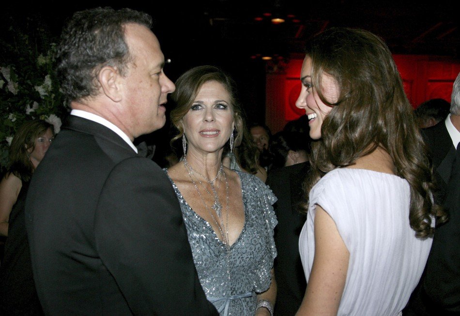 Catherine, Duchess of Cambridge, talks with actress Rita Wilson and her husband actor Tom Hanks at the BAFTA Brits to Watch event in Los Angeles