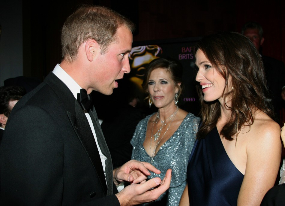 Britain's Prince William speaks to actress Jennifer Garner, as actress Rita Wilson watches, at the BAFTA Brits to Watch event in Los Angeles