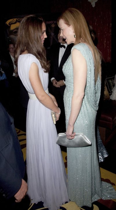 Britains Catherine, Duchess of Cambridge speak to actress Nicole Kidman at the BAFTA Brits to Watch event in Los Angeles