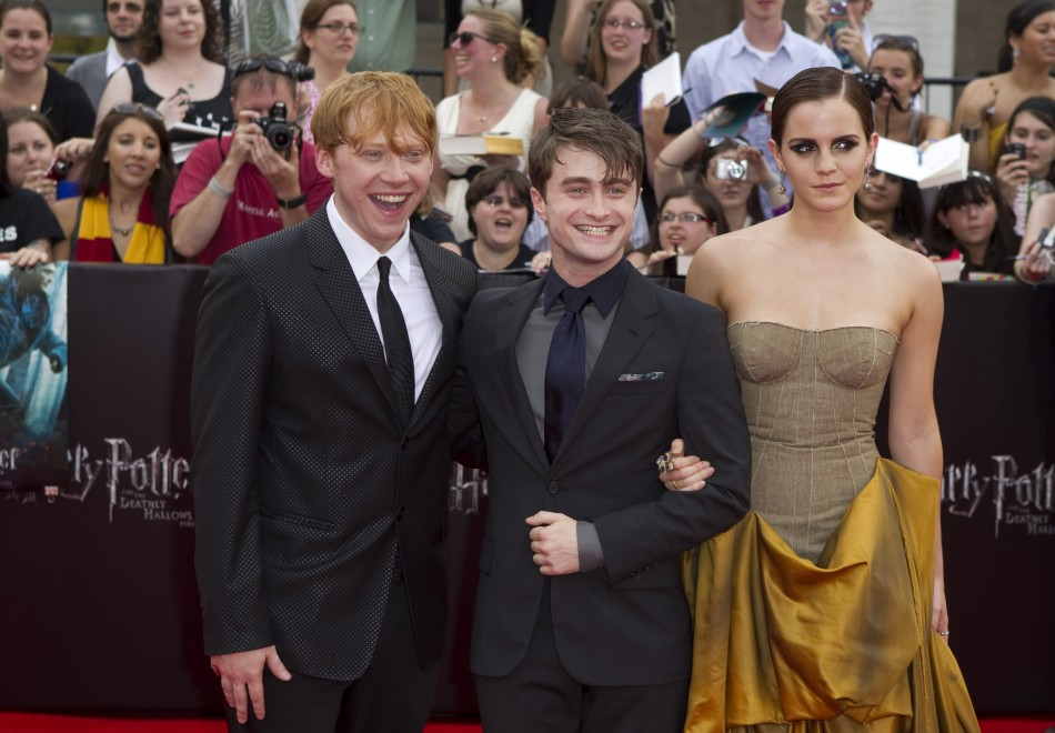 """Cast members Grint, Radcliffe and Watson arrive for premiere of the film """"Harry Potter and the Deathly Hallows: Part 2"""" in New York"""