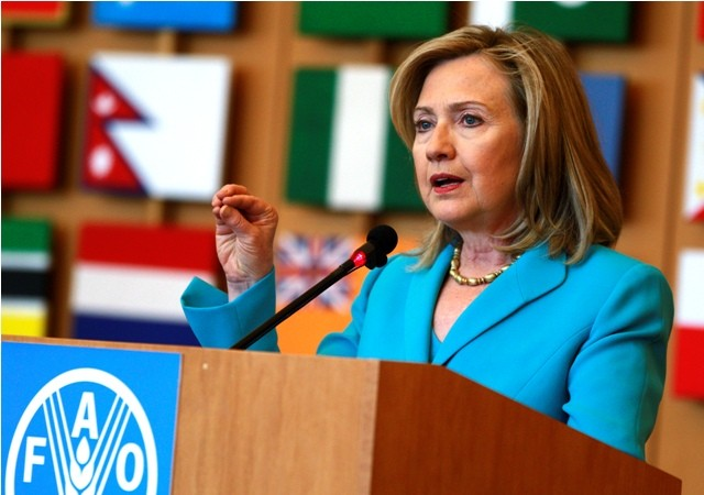 U.S. Secretary of State Hillary Clinton speaks at the UN Food and Agriculture Organization in Rome