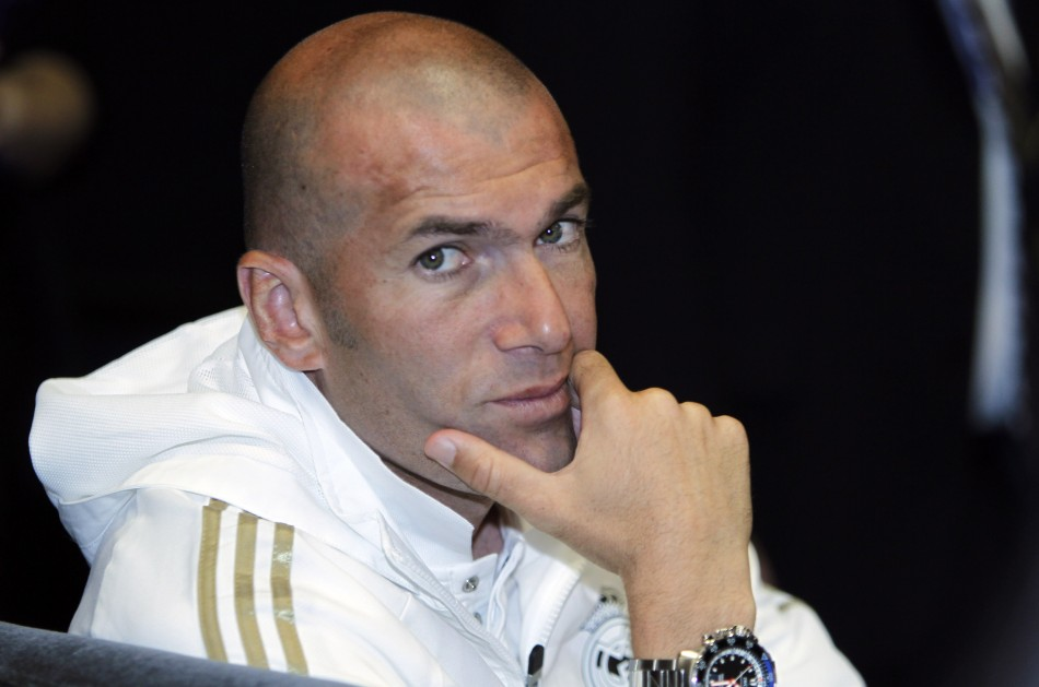 Former Real Madrid player and the team's director of football Zinedine Zidane attends a news conference in Los Angeles