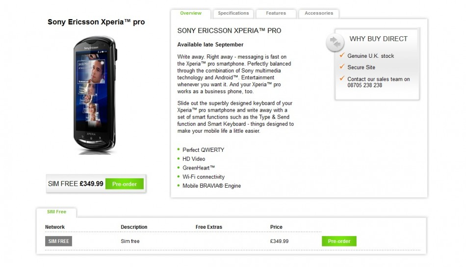 Sony Ericsson Website