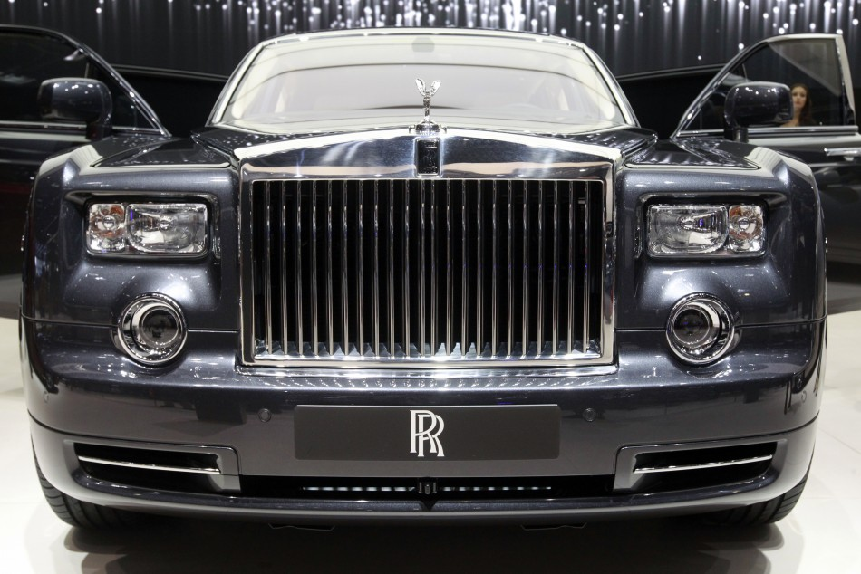 A Rolls Royce Phantom Coupe car is displayed on media day at the Paris Mondial de l'Automobile