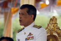 Thailand's Crown Prince Maha Vajiralongkorn watches the annual royal ploughing ceremony in Bangkok