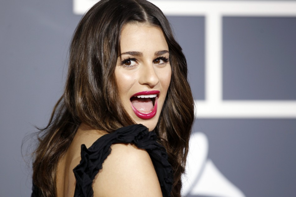 "Lea Michele from the television show ""Glee"" poses on arrival at the 53rd annual Grammy Awards in Los Angeles"