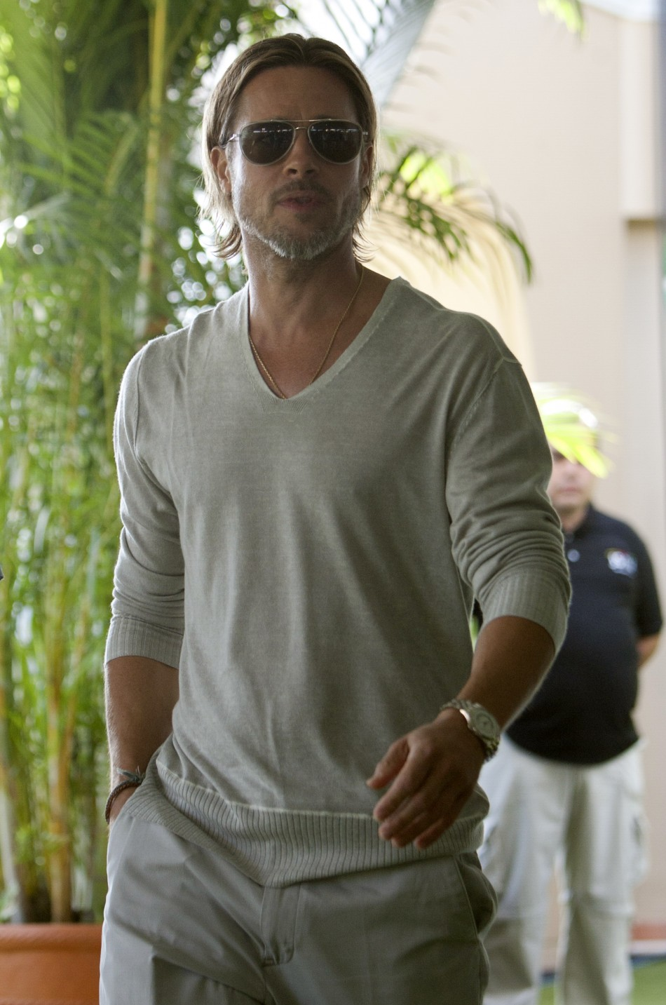 "U.S. actor Brad Pitt poses during a photocall for his film ""Moneyball"" in Cancun"