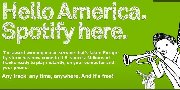 A Spotify poster greeting the US