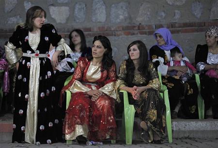 Kurdish women attend a wedding ceremony in the southeastern Turkish city of Hakkari