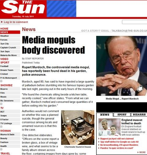 The Sun Fake Page