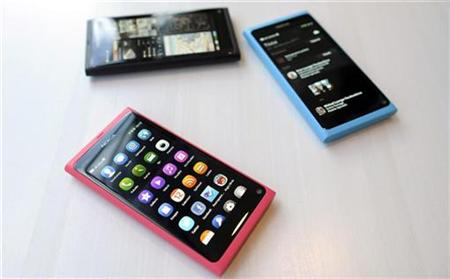 The Nokia N9 smartphone is displayed at a Nokia news conference in Espoo