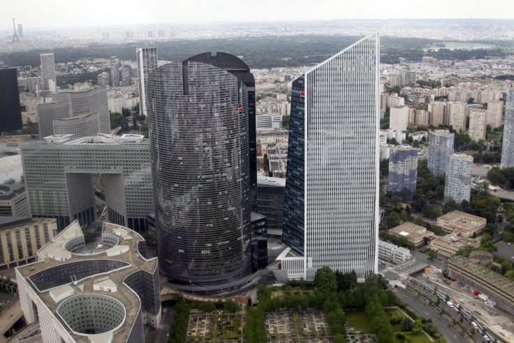 The Gan insurance company towers at La Defence business district outside Paris are seen in an aerial view