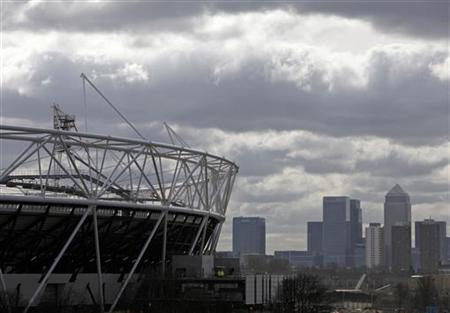 The Olympic Stadium, being constructed for the London 2012 Olympic games, is pictured in east London