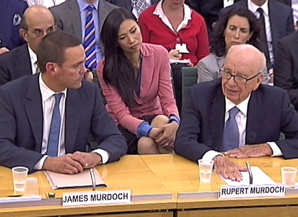 James Murdoch and Rupert Murdoch appear before a parliamentary committee