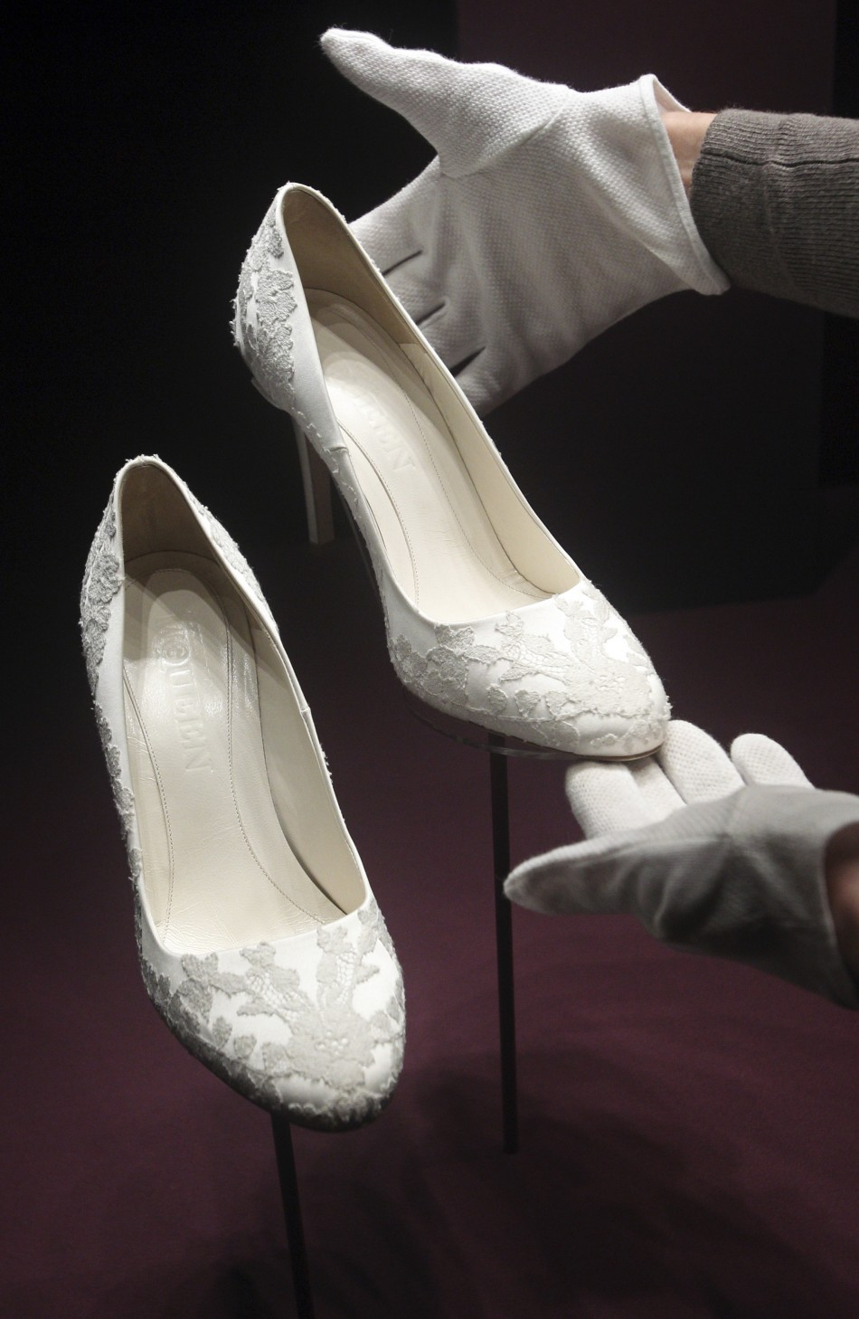 The bridal shoes of Britain039s Catherine, Duchess of Cambridge are seen at Buckingham Palace in London