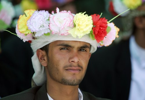 A groom attends a mass wedding ceremony in Sanaa, Yemen.
