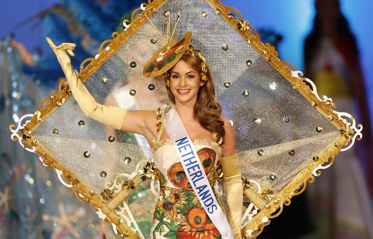 Miss Netherlands Nathalie den Dekker shows off her national costume.
