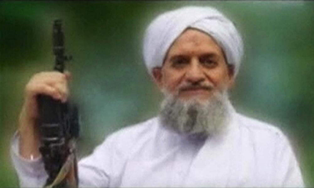 A photo of Al Qaeda's leader Egyptian Ayman al-Zawahiri