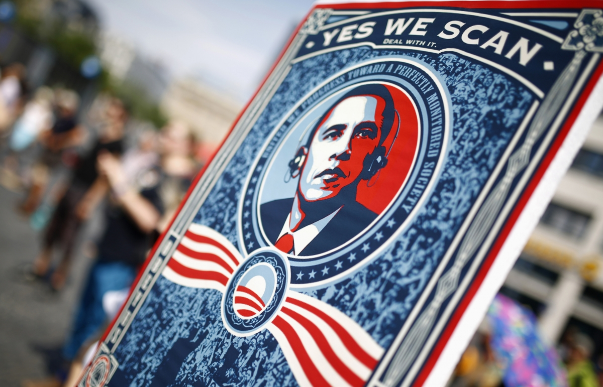 Protest against NSA spying, Barack Obama