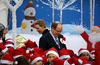 Prince Albert II of Monaco and his wife Princess Charlene attend the traditional Christmas tree ceremony at the Monaco Palace.