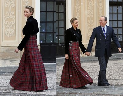 Princess Charlene wore red check skirt and black top for the Christmas tree ceremony.