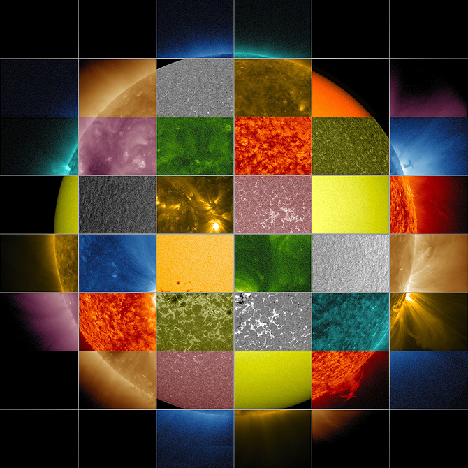 This collage of solar images from NASA's SDO shows how observations of the sun in different wavelengths helps highlight different aspects of the sun's surface and atmosphere.