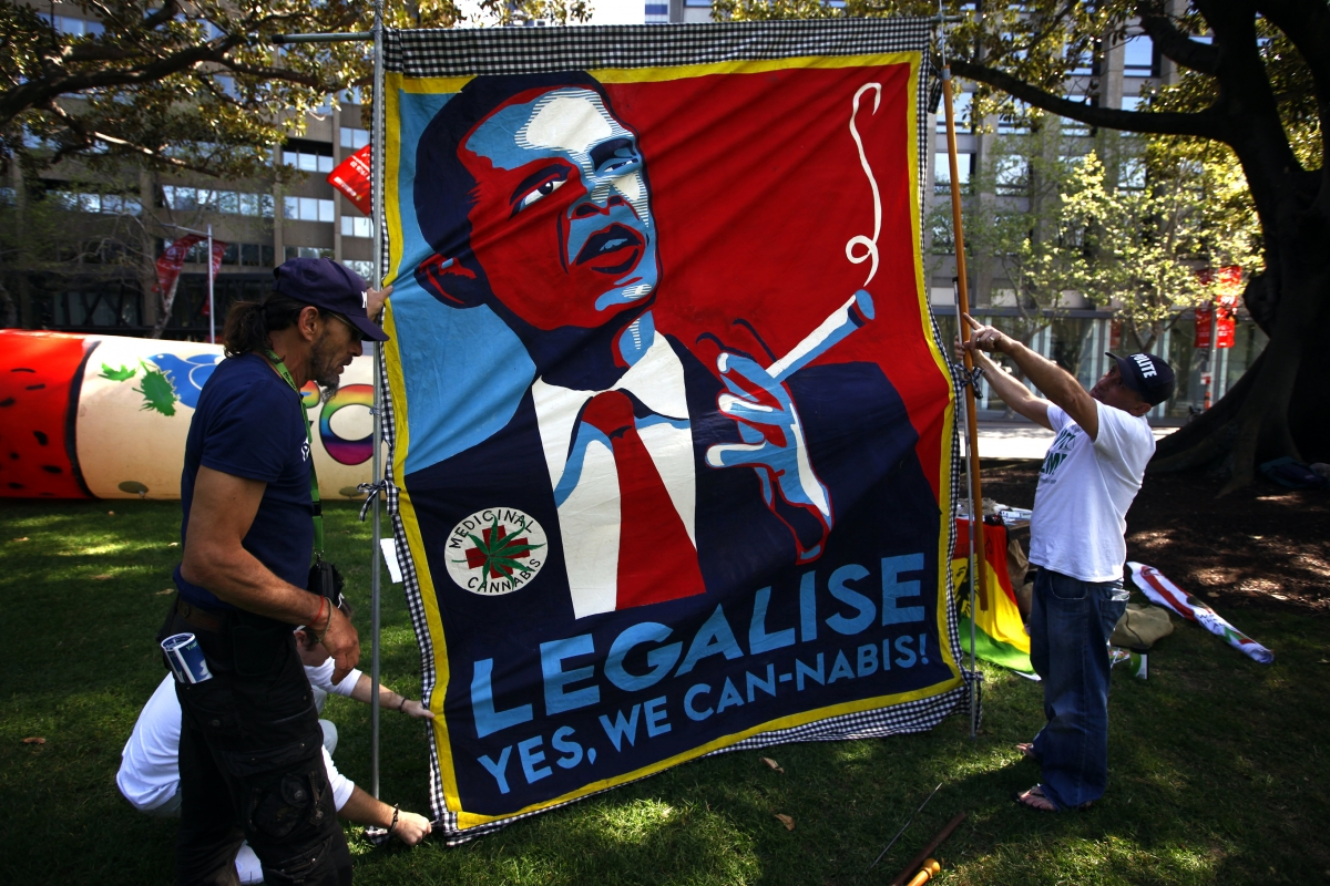 Members of the Help End Marijuana Prohibition (HEMP) Party lift a banner displaying a parody of U.S. President Barack Obama