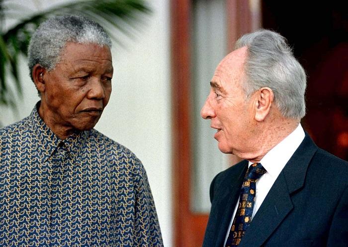 Nelson Mandela pictured with former Israeli Prime Minister Shimon Peres.